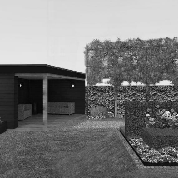 3D animatie van overkapping-buitenkeuken-loungehoek stadstuin Eindhoven