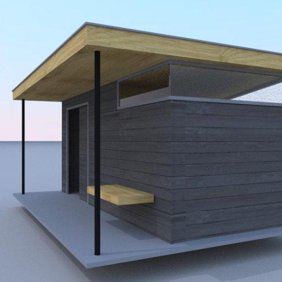 Stoer en strak tuinhuis eigen ontwerp