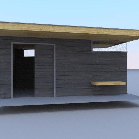 Eigen ontwerp strak en stoer tuinhuis 3D